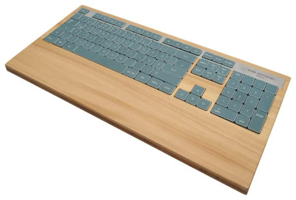 Unique computer keyboard in elm wood