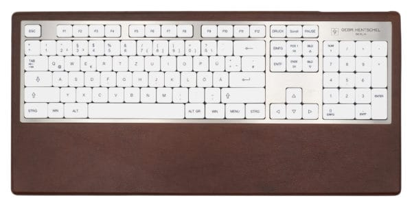 Design computer keyboard in brown leather