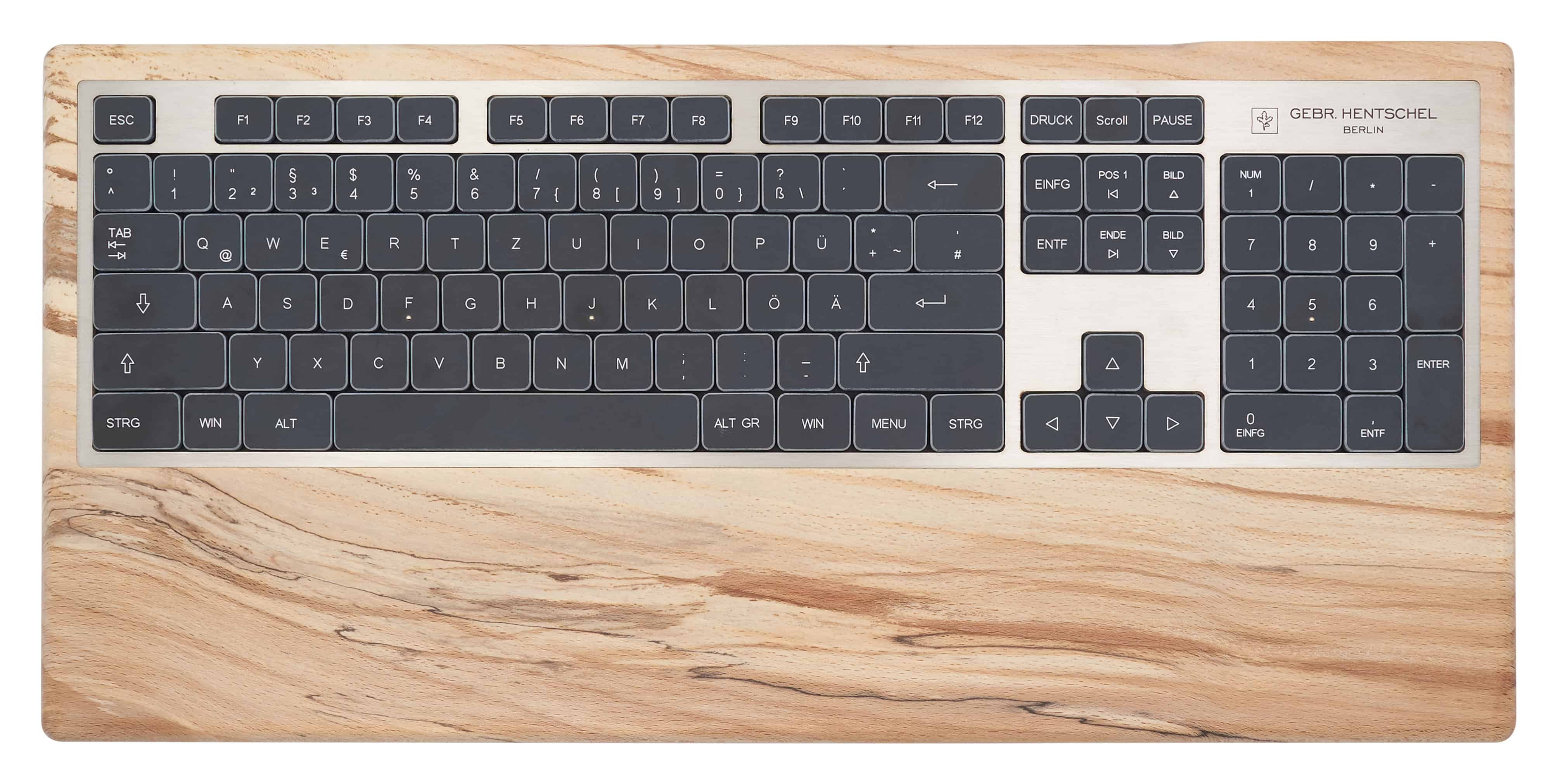 Luxury computer keyboard in spalted beech wood