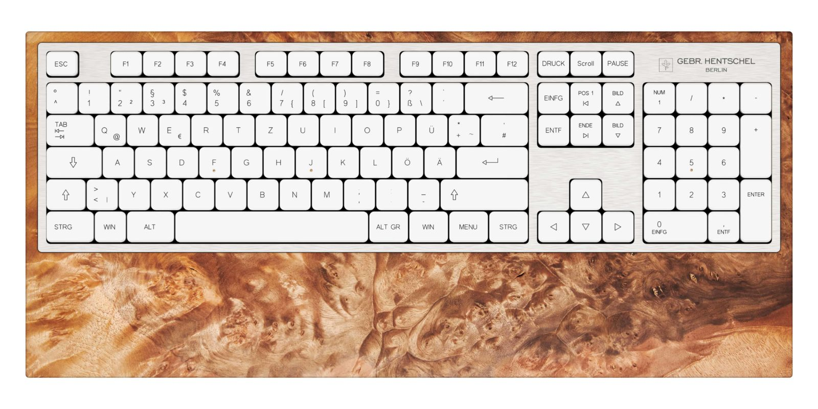 luxury computer keyboard in walnut burl