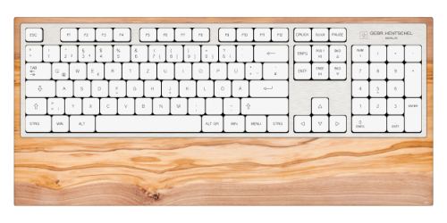 computer keyboard in olive wood